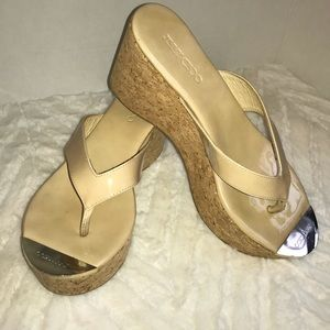 Jimmy Choo pathos patent leather cork wedge sandal